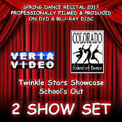 Select a combination of any 2 Shows from CSD's Annual Spring Recital 2017 on DVD and / or Blu-ray Disc. Veria Video In Association With The Colorado School of Dance in Parker, Co presents the Twinkle Stars Showcase and Schoo's Out production!