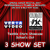 Select a combination of any 3 Shows from CSD's Annual Spring Recital 2017 on DVD and / or Blu-ray Disc. Veria Video In Association With The Colorado School of Dance in Parker, Co presents the Twinkle Stars Showcase and Schoo's Out production!