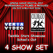 Select a combination of any 4 Shows from CSD's Annual Spring Recital 2017 on DVD and / or Blu-ray Disc. Veria Video In Association With The Colorado School of Dance in Parker, Co presents the Twinkle Stars Showcase and Schoo's Out production!